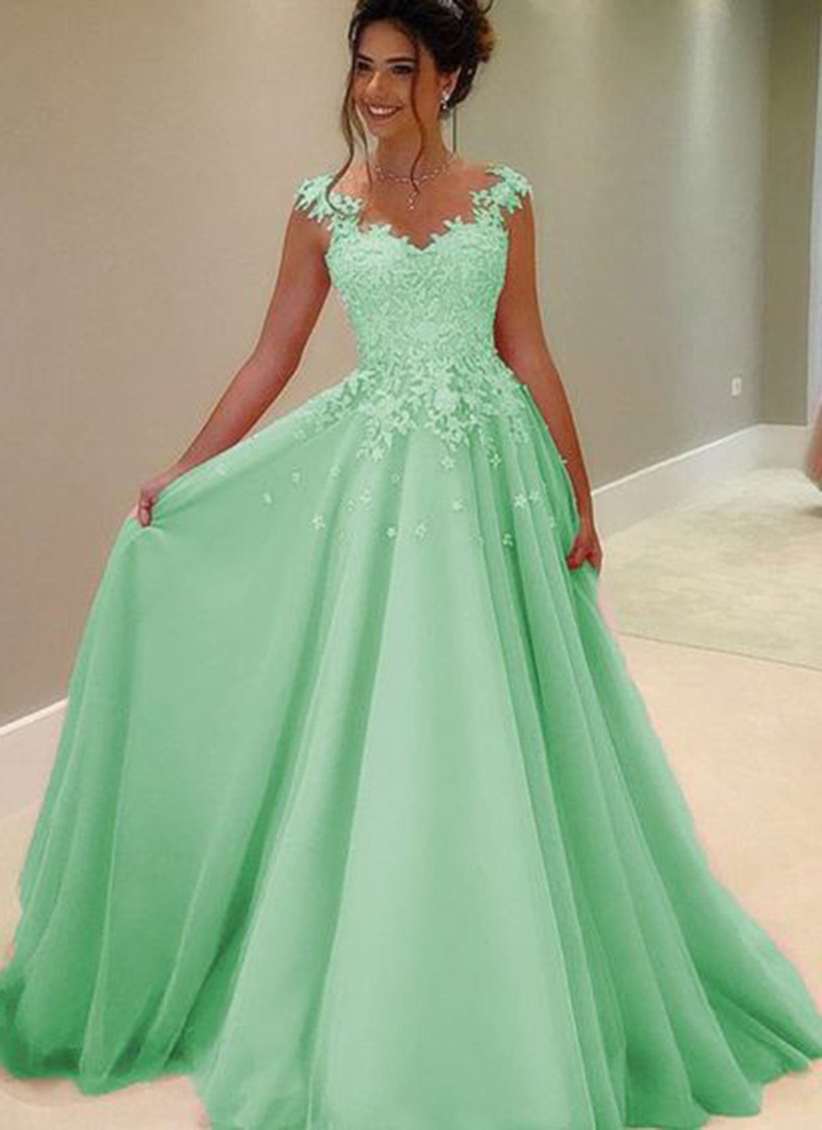 Elegant champagne tulle o neck long formal prom dress with white