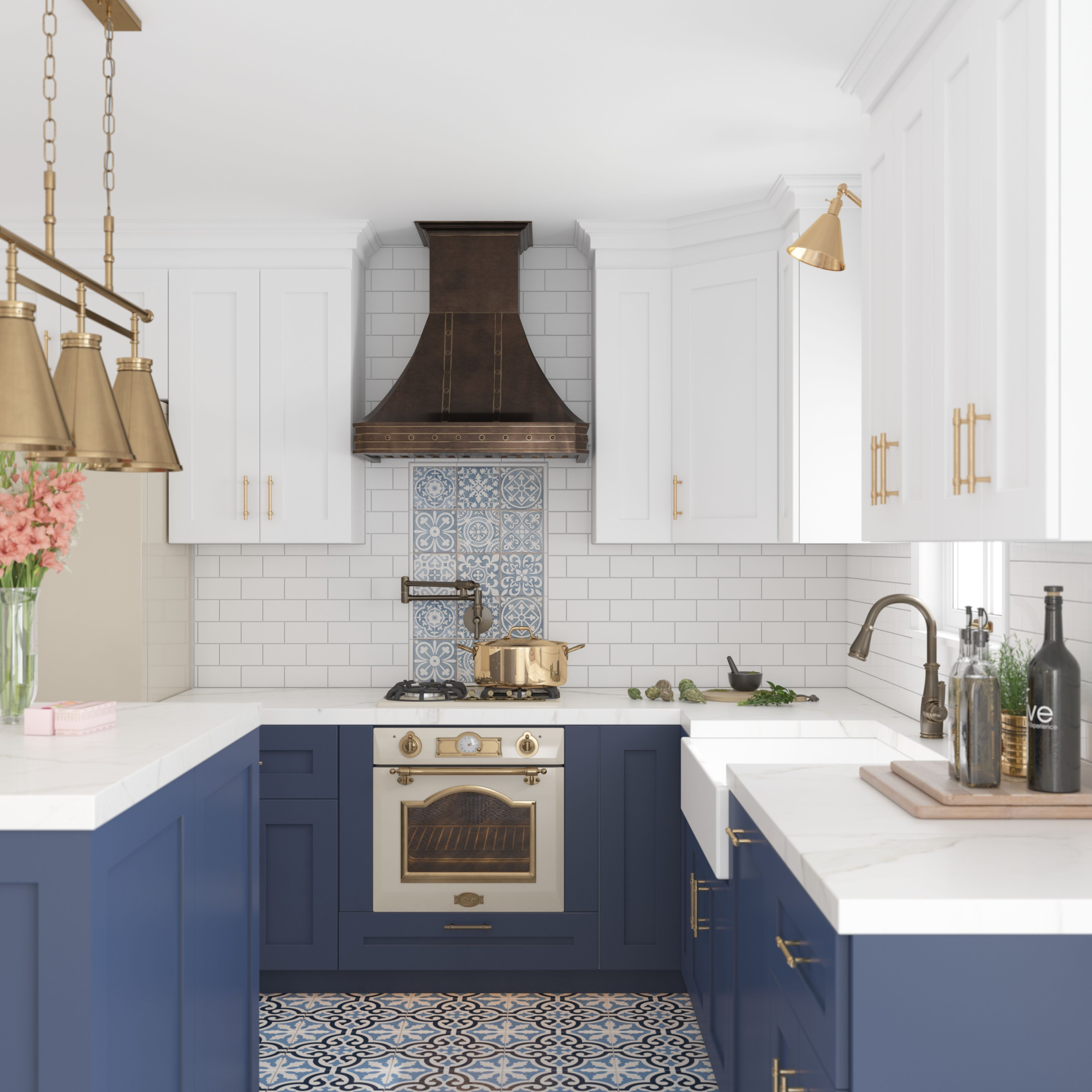3d rendering of a cottage kitchen white kitchen cabinets blue rh pinterest com