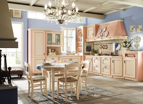 Cucina in frassino tinto corda e struttura in muratura dipinta rosa ...