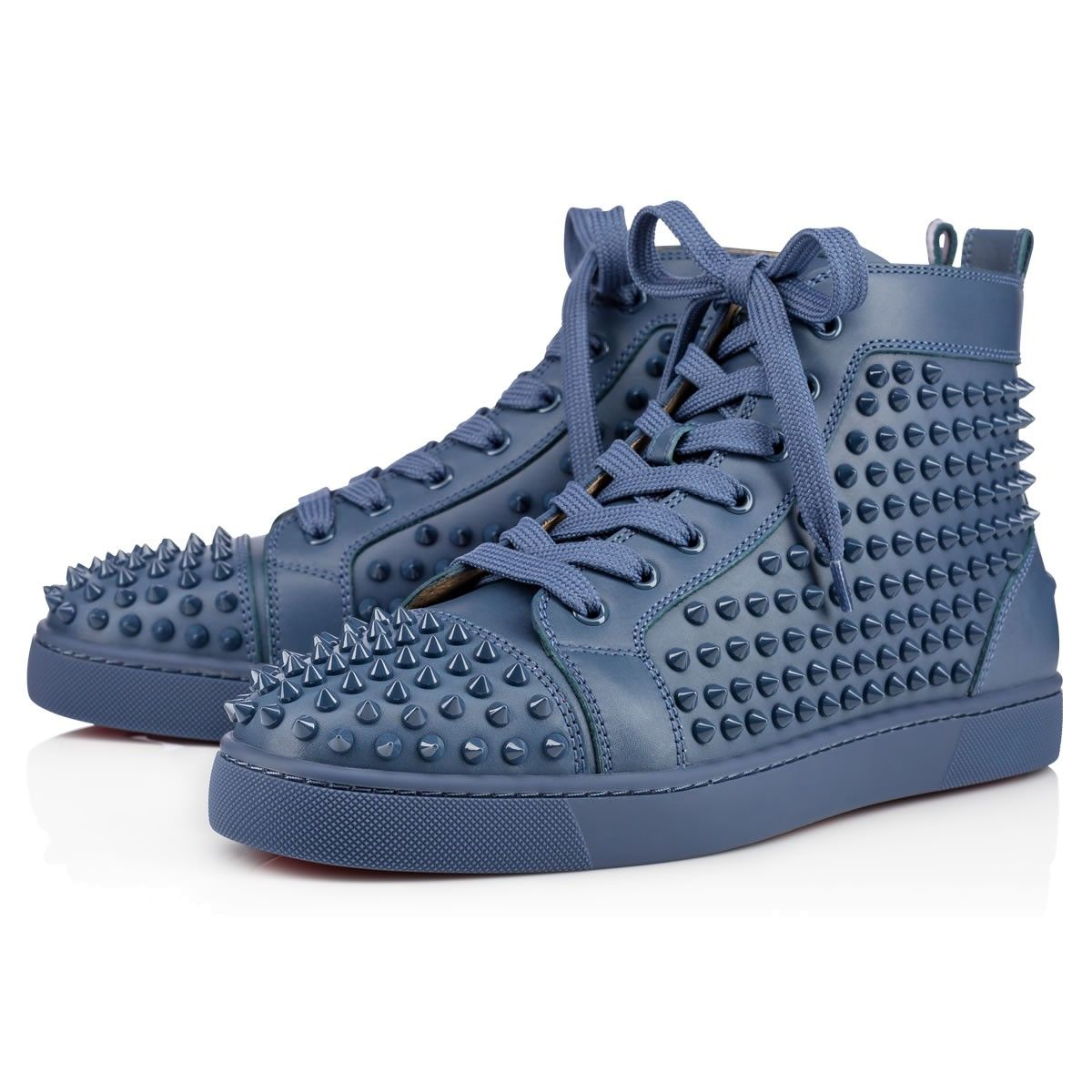 ab0e8eab0cf CHRISTIAN LOUBOUTIN Louis Calf/Spikes Blues Calfskin - Men Shoes ...