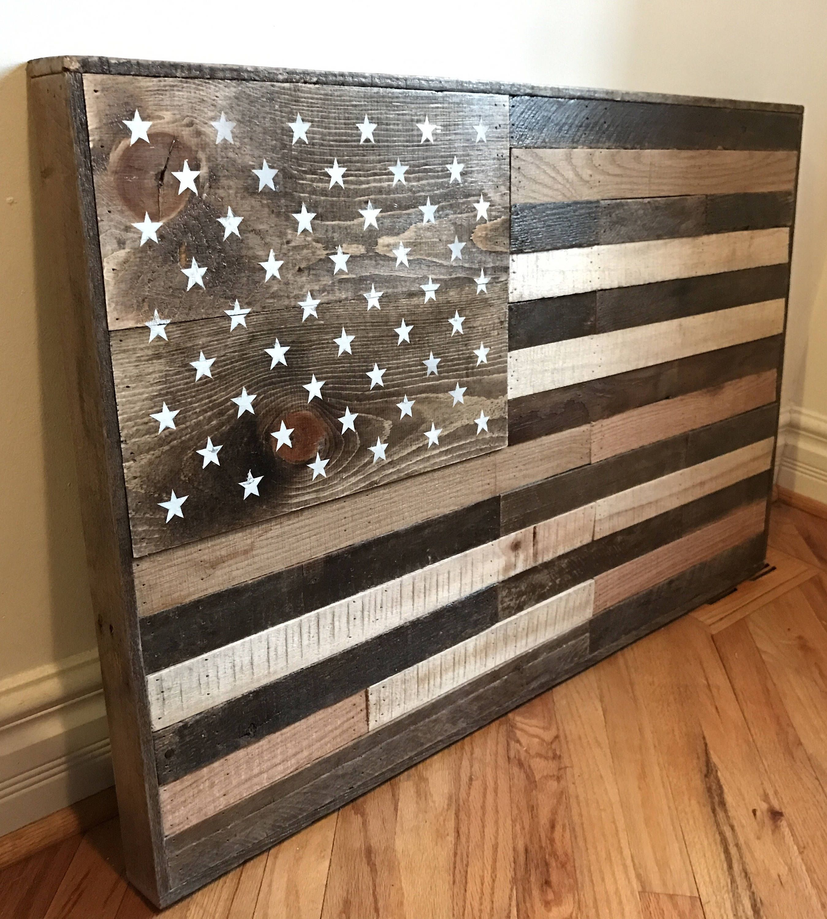 Wooden American Flag Wall Art reclaimed pallet american flag, rustic wood american flag