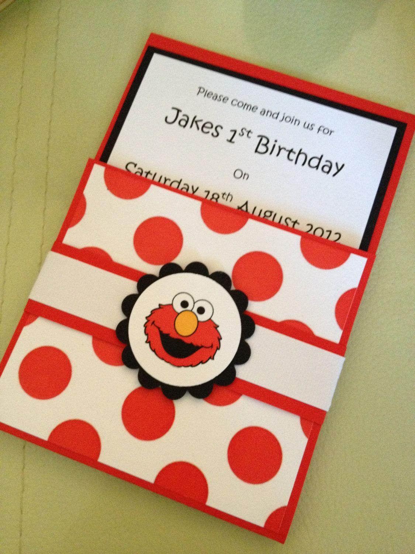 Handmade Elmo Party Invitations Envelopes Set Of 10 800 Via Etsy