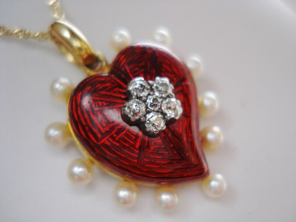 ANTIQUE 18 KT GOLD RED ENAMEL ROSE CUT DIAMONDS & PEARLS GIARDINETTI PENDANT