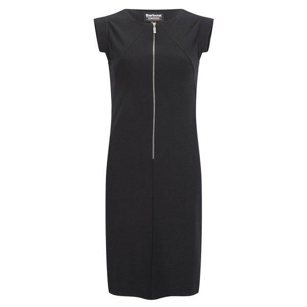 Barbour International Women's Ventura Dress - Black ($77) ❤ liked on Polyvore featuring dresses, black, exposed zipper dress, kohl dresses, cap sleeve dress, boat neck a line dress and mid length dresses