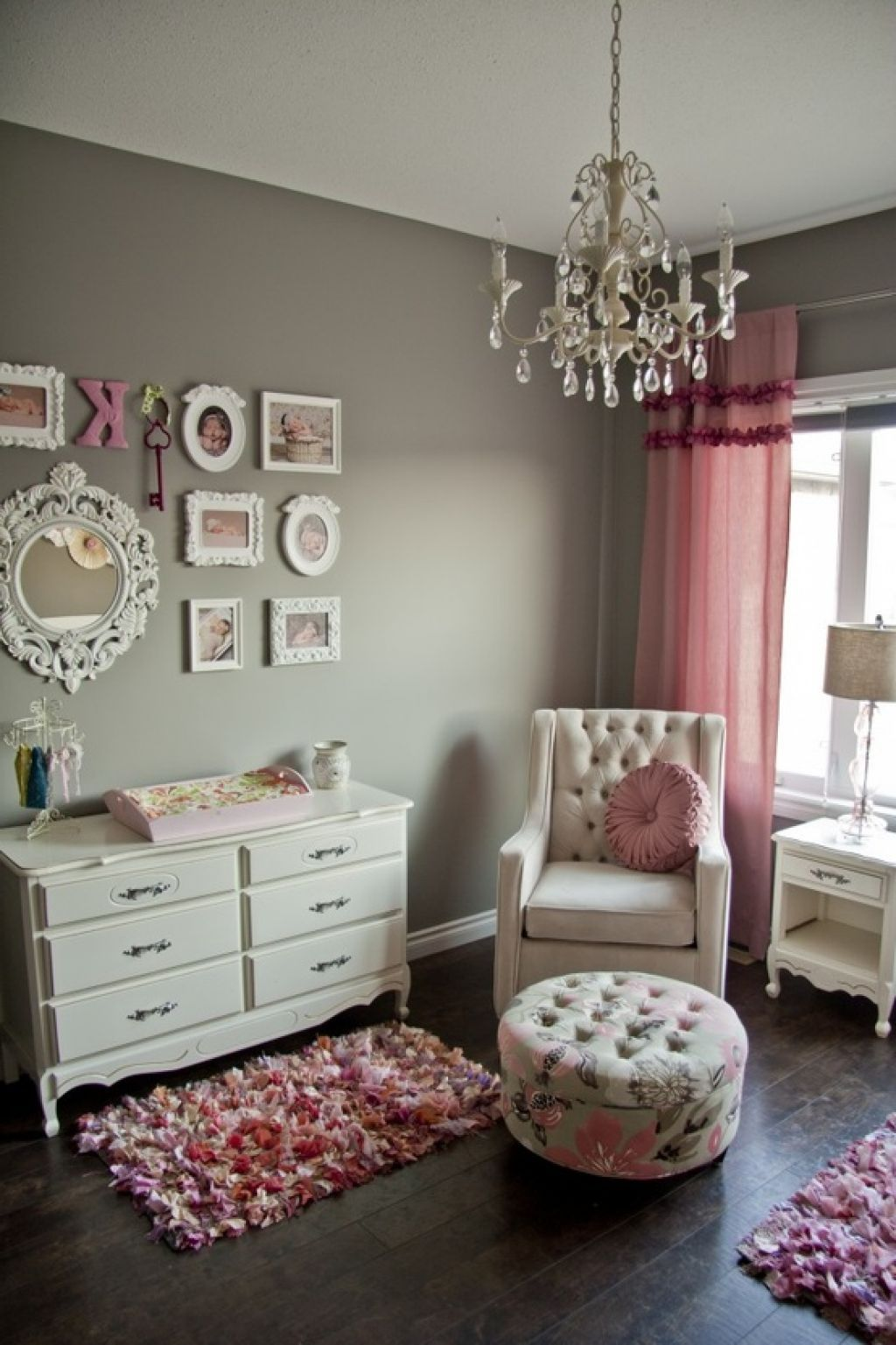 Shabby chic nursery furniture pink and grey little girls - Little girls shabby chic bedroom ...