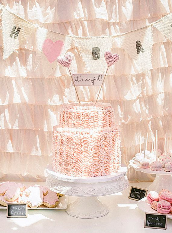 Itu0027s A Girl Baby Shower Cake Topper With Crochet Hearts For Baby Shower  Party | Banner Cake Toppers, Shower Banners And Banners