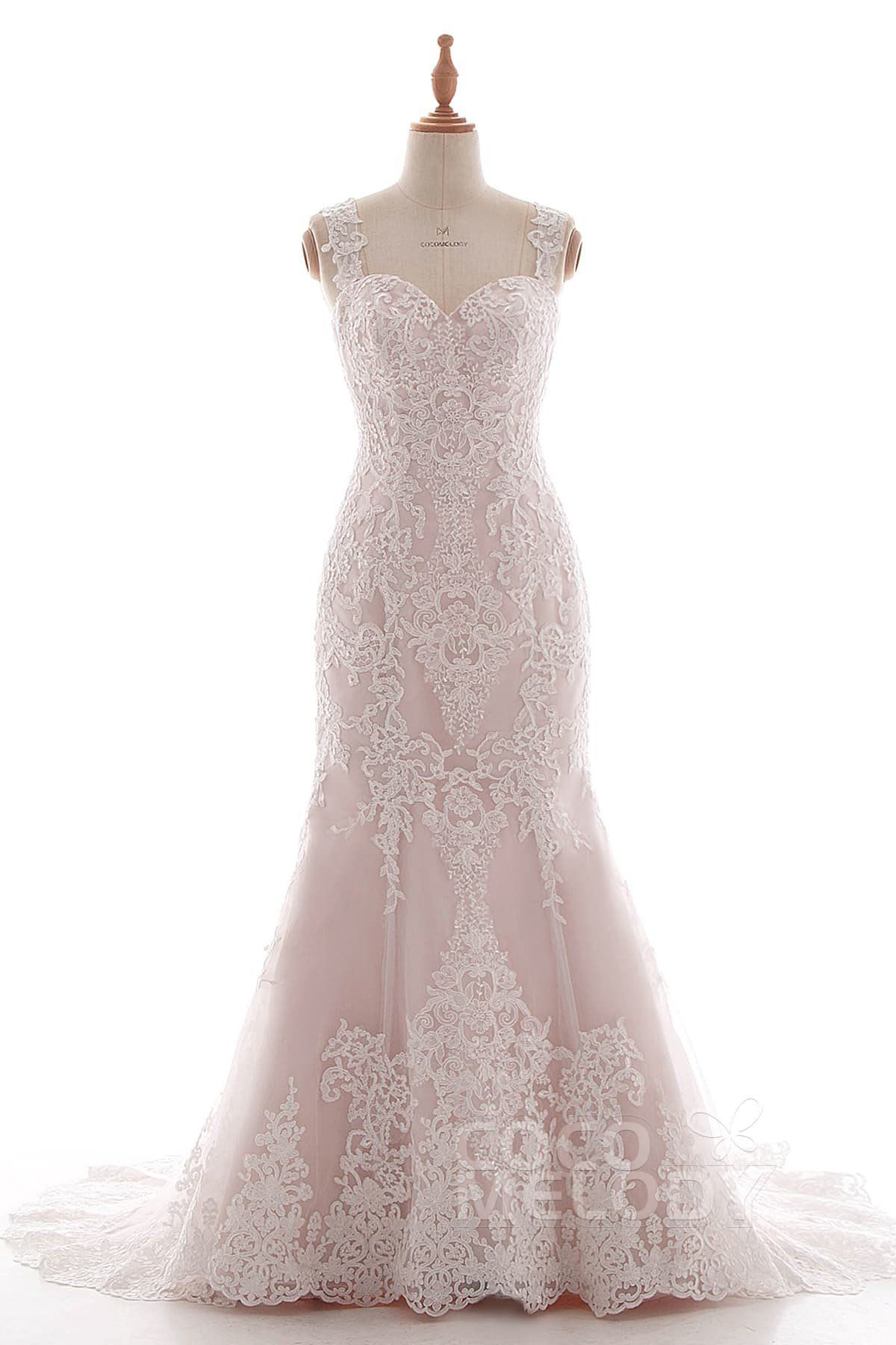 TrumpetMermaid Court Train Tulle and Lace Wedding Dress LD in