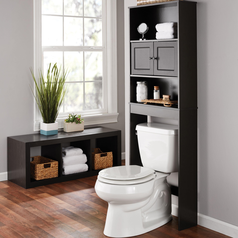 Mainstays Bathroom Storage Over The Toilet Space Saver With Three Shelves Espresso Walmart Com Bathroom Space Saver Toilet Storage Bathroom Space