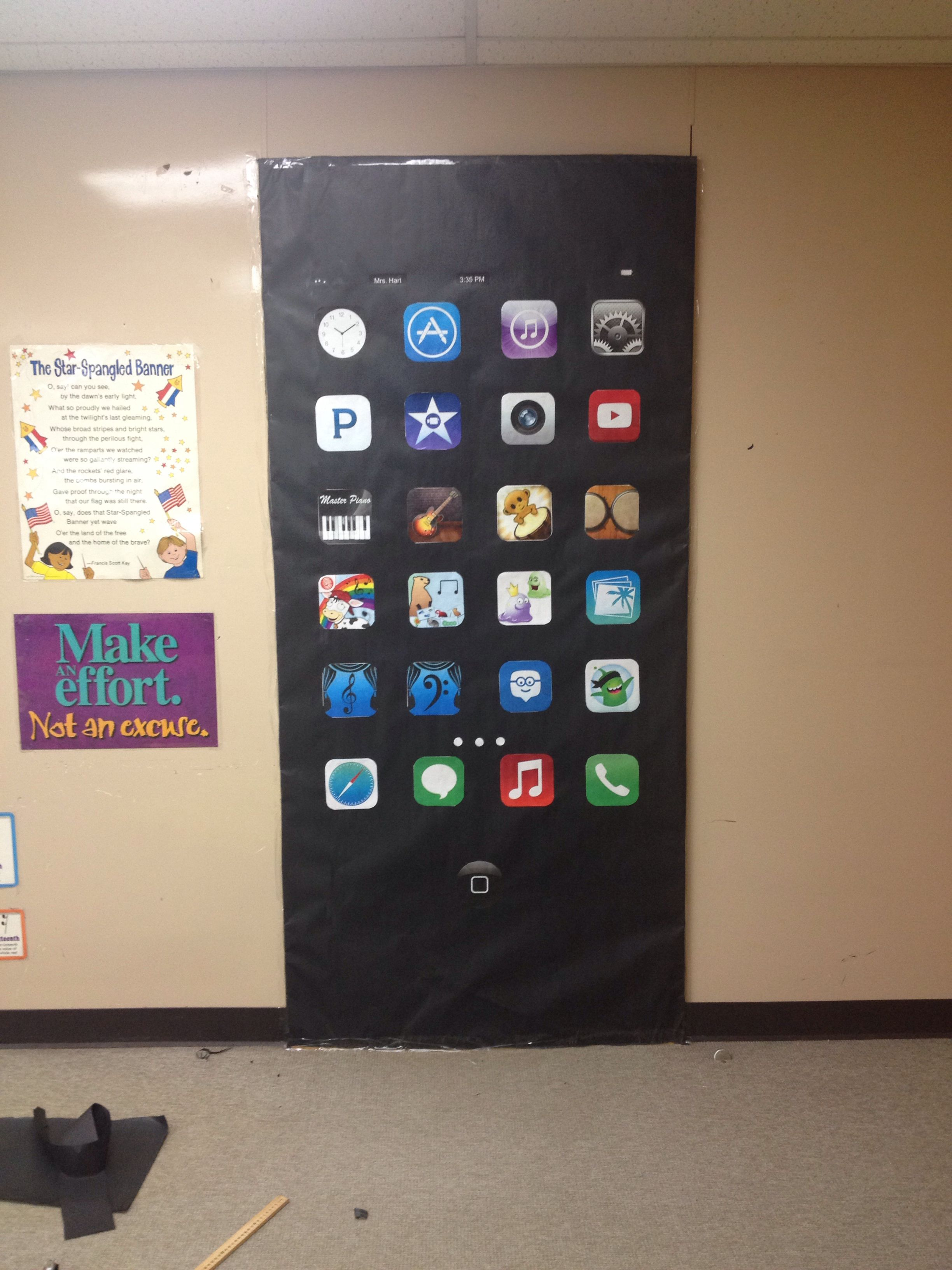 Music classroom door decoration-iPhone with music apps ...