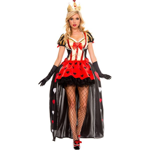 Red Luxurious Queen Of Hearts Costume (150 BRL) ❤ liked on Polyvore - sexy halloween decorations
