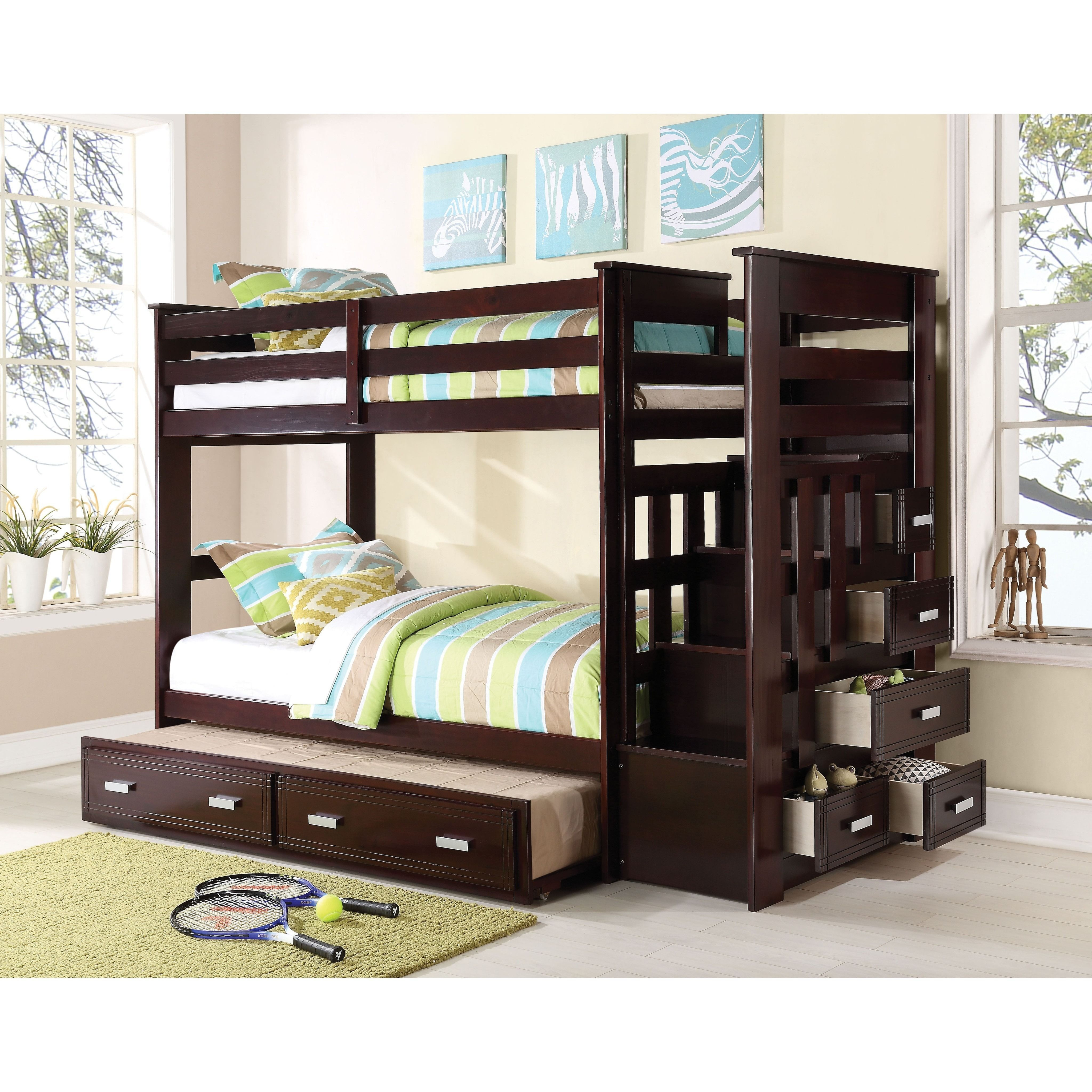 Tuffing loft bed ideas  Allentown Espresso Twin over Twin Bunk Bed with Trundle and Storage