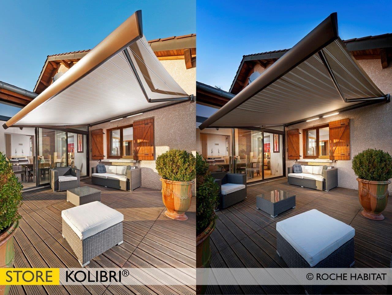 store coffre kolibri avec option clairage led profitez de votre terrasse de jour comme de. Black Bedroom Furniture Sets. Home Design Ideas