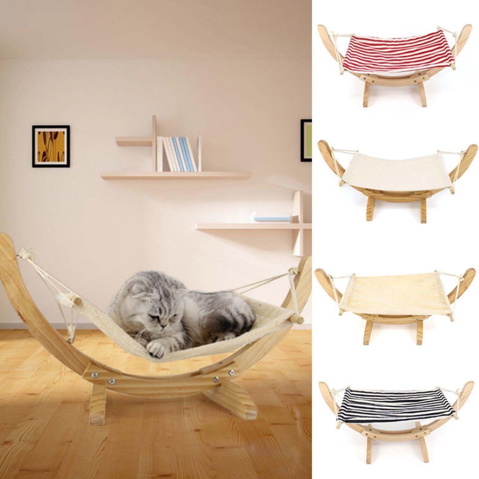 Wooden Deluxe Pet Cat Hammock Swing Bed Comfy Nest Dog