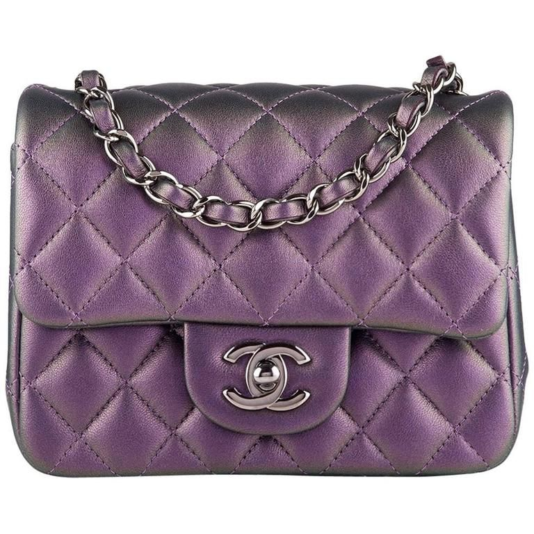 e682fd8d19e52b Chanel Iridescent Purple Quilted Lambskin Square Mini Classic Flap Bag