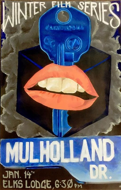 """DUCLE MACHO - WORK  A poster I did in acrylic for the Winter Film Series. The movie showing was, of course, """"Mulholland Dr."""" An honor and pleasure to design and paint."""
