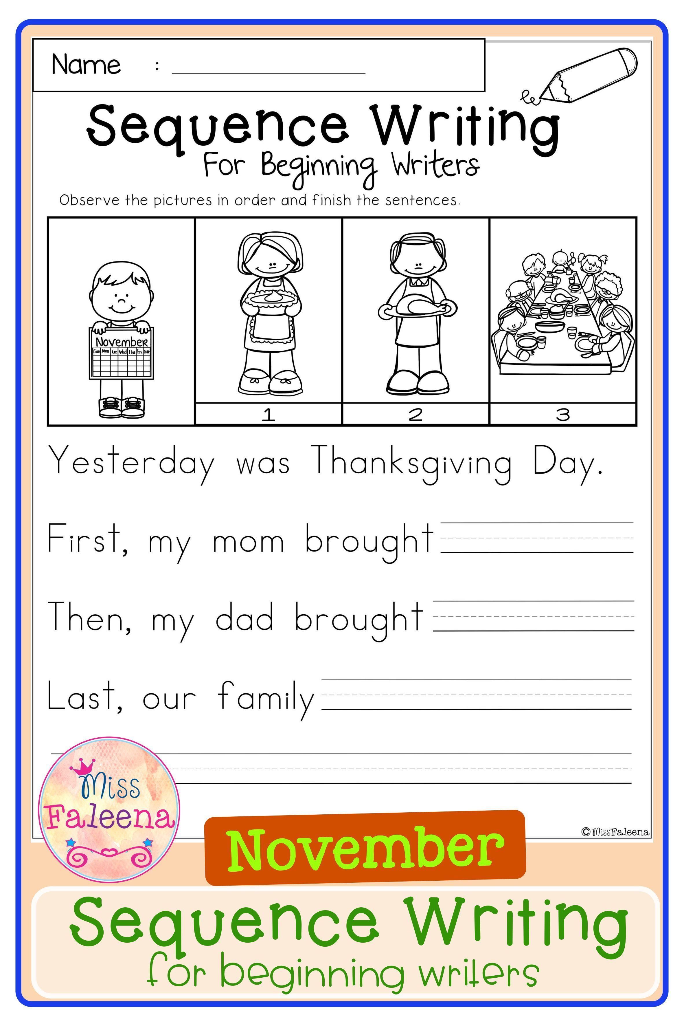 November Sequence Writing For Beginning Writers Sequence Writing Printable Writing Prompts First Grade Worksheets [ 3544 x 2364 Pixel ]