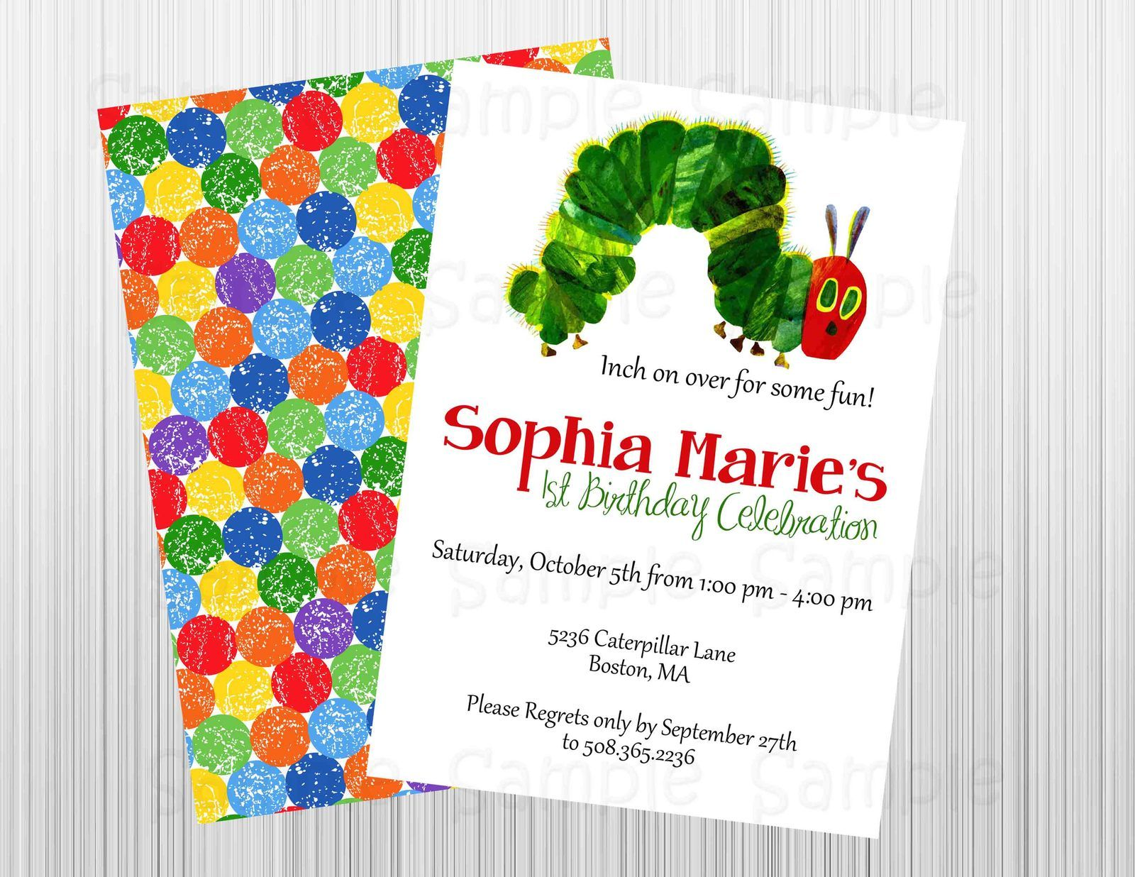 Hungry Caterpillar Birthday/Baby Shower Invitation Printable,Front ...