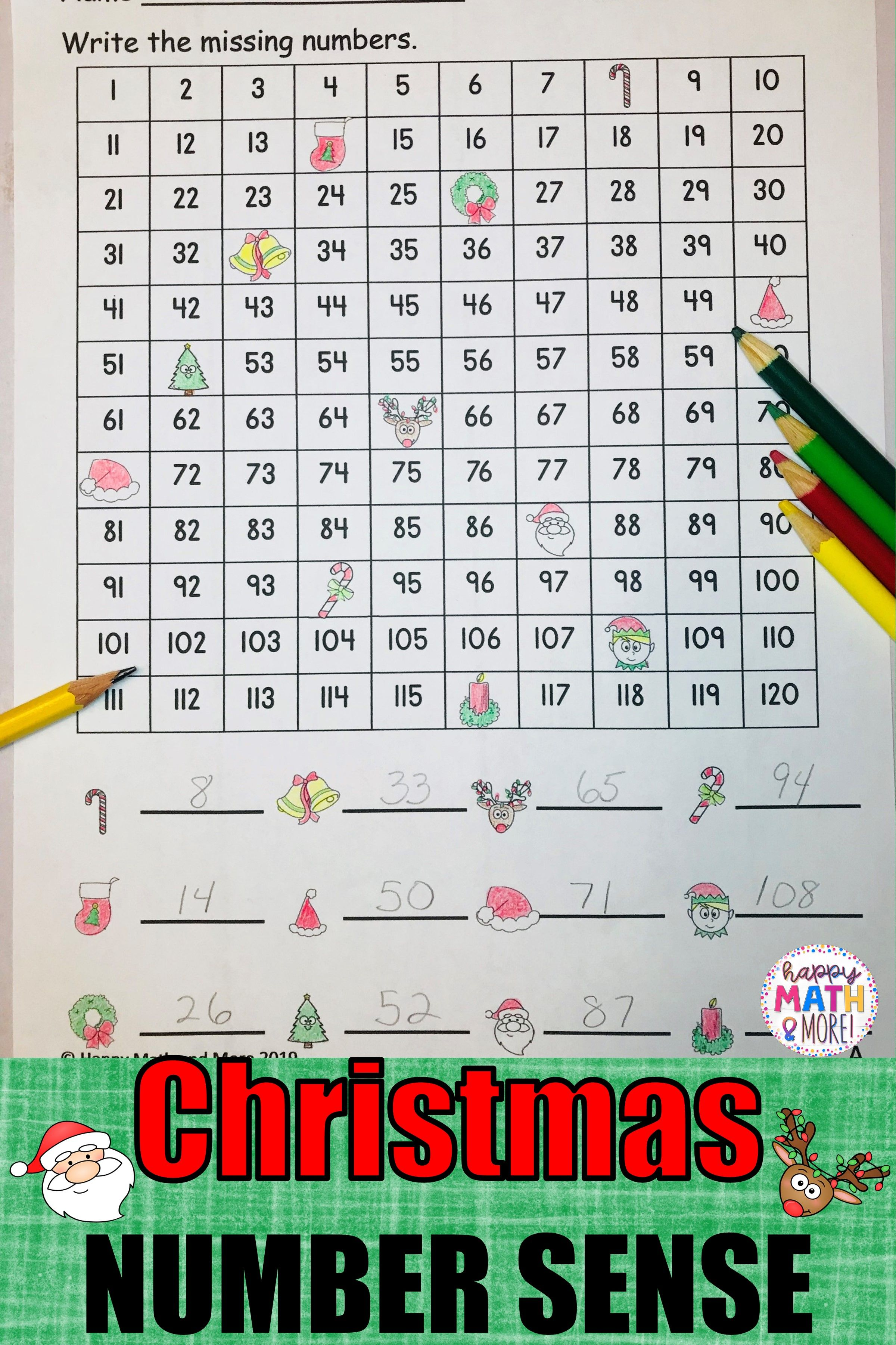 Christmas 120 Charts With Missing Numbers Differentiated