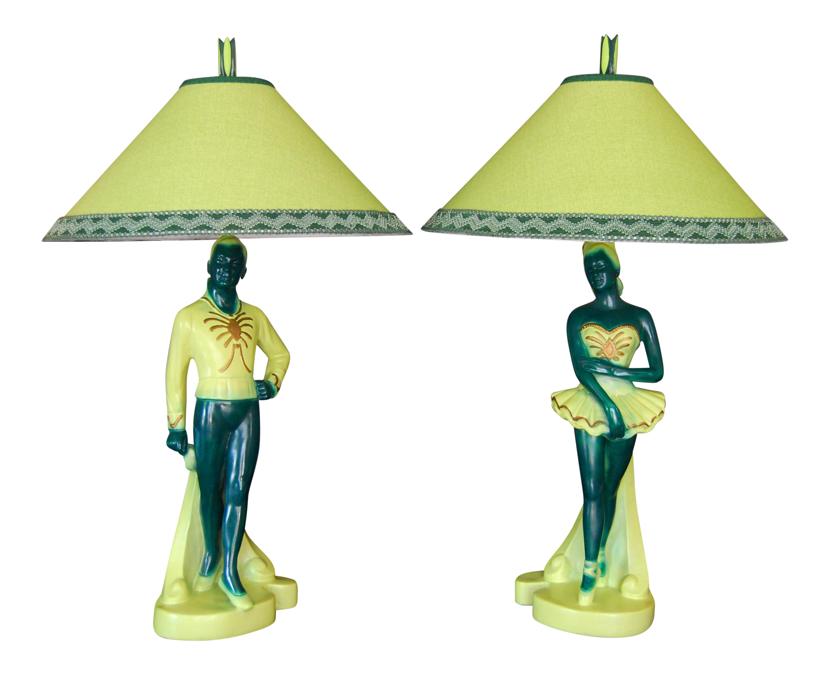 1952 Chalkware Dancer Lamps - A Pair on Chairish.com