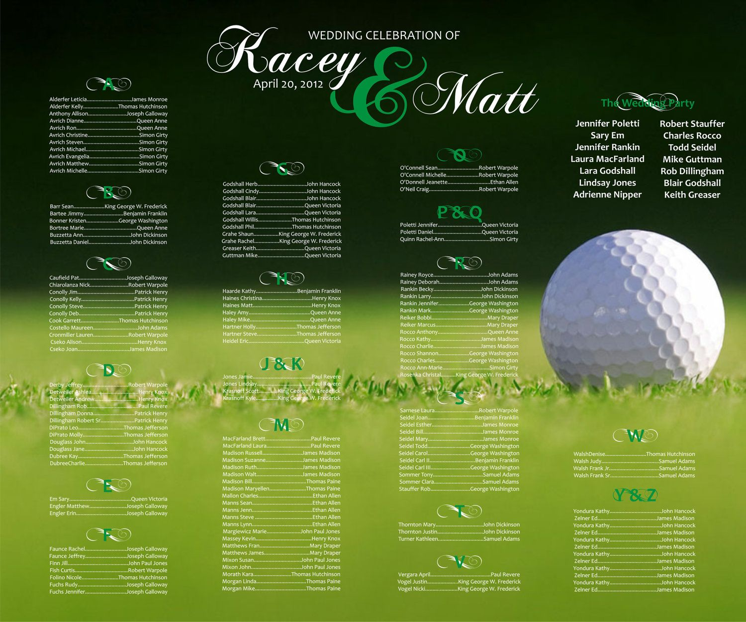 Golf Course Wedding Ideas: Golf Themed Wedding Reception-seating Chart