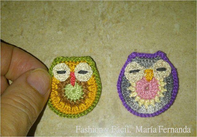 Fashion y Fácil DIY: DIY Cómo hacer mini buhos de crochet. Un dije y un prendedor de buho tejido con sedalina (DIY Crocheted mini owls for necklace and brooch)