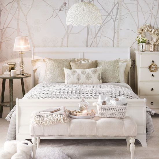 Vintage Glam Bedroom, With Tree Print Wallpaper And White Wooden Bed