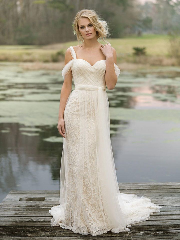 Tulle and Lace Gown with Draped Straps and Self-Tie Belt | itakeyou.co.uk #weddingdress #weddingdresses