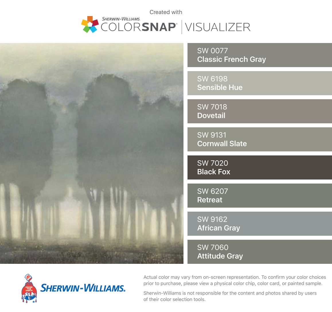 7018 dovetail sherwin williams - I Found These Colors With Colorsnap Visualizer For Iphone By Sherwin Williams Classic French Gray Sw Sensible Hue Sw Dovetail Sw Cornwall Slate Sw