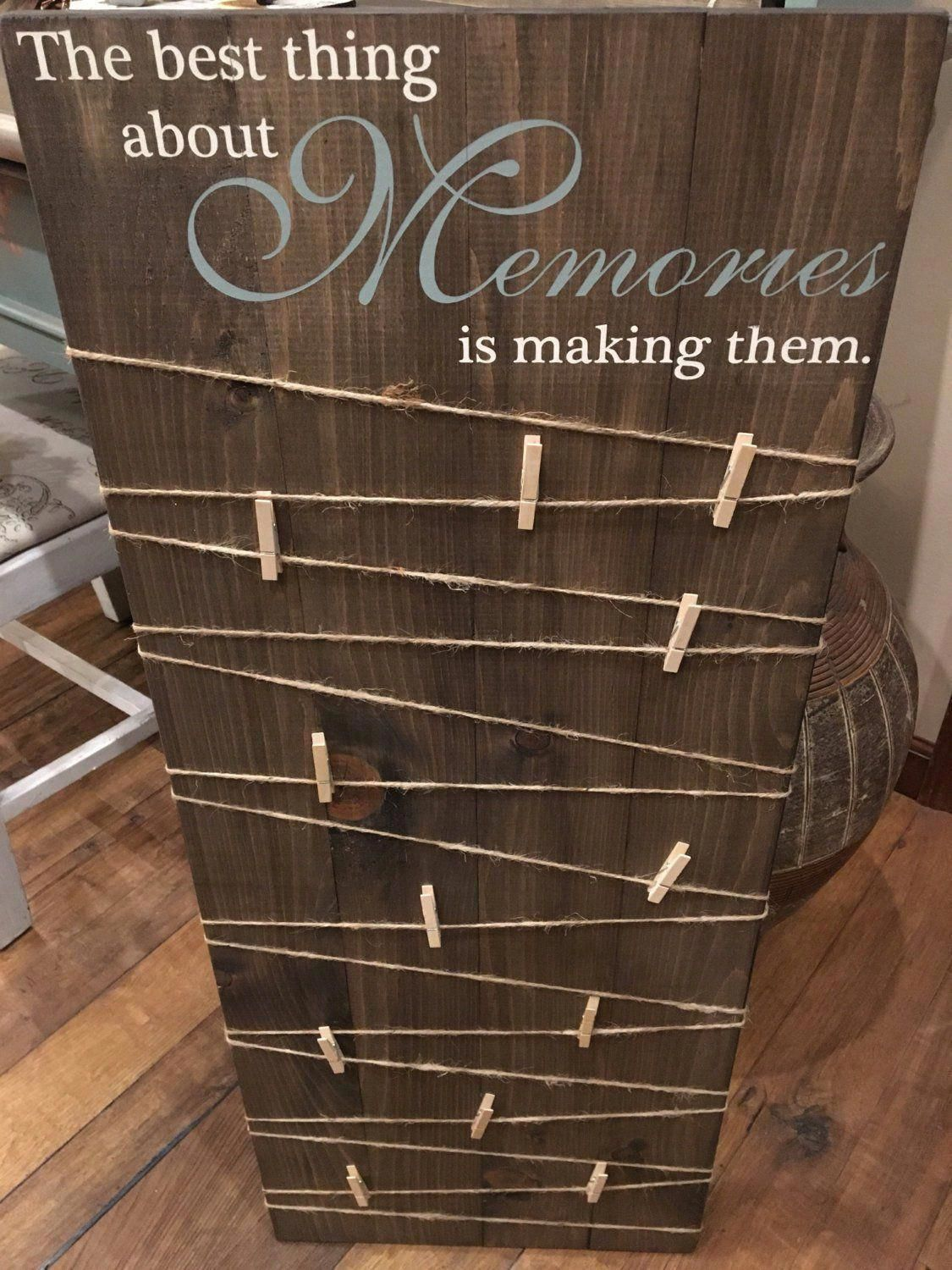Making Memories Wooden Sign / Picture Board with clips / Photo Board with clips / Wood Picture Frame /Wood Photo Sign /Picture Display Board -   18 diy projects For The Home picture frames ideas