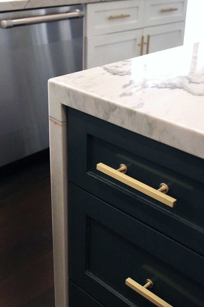 Kitchen Island Cabinet French Country Chairs Quartzite Counter Navy Color With Brass Gold Rod Pulls