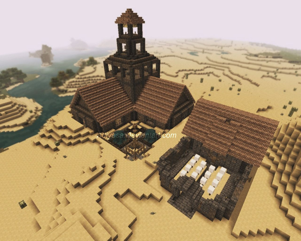 An Age Of Empires Town Center And Barracks Recreated In Minecraft