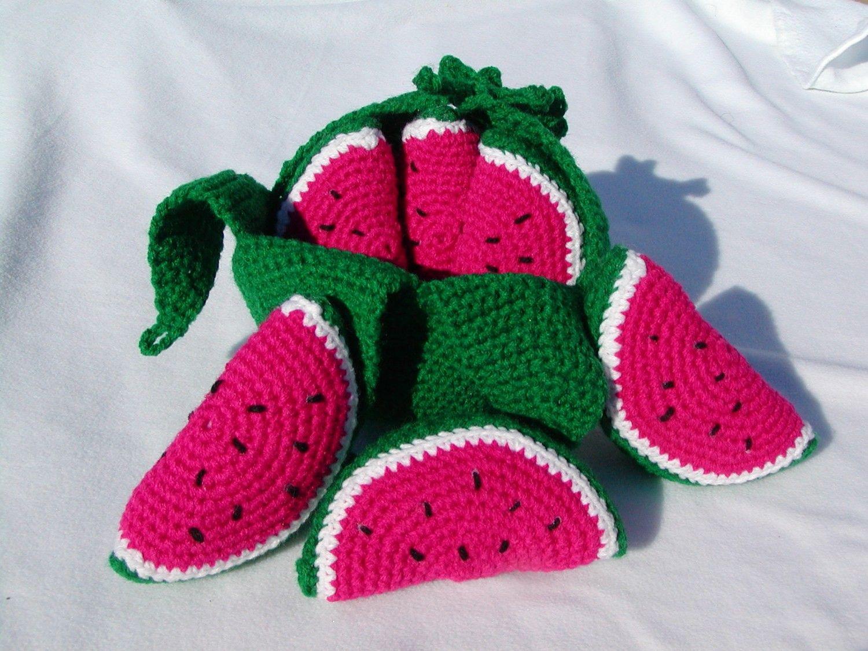 Peelable Watermelon- crochet play food by honeybee69 on Etsy ...