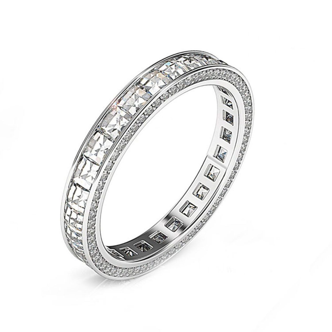 Bez Ambar White gold Blaze and Pave wedding Ring - Explore the collection at Wedding Band Weekend!