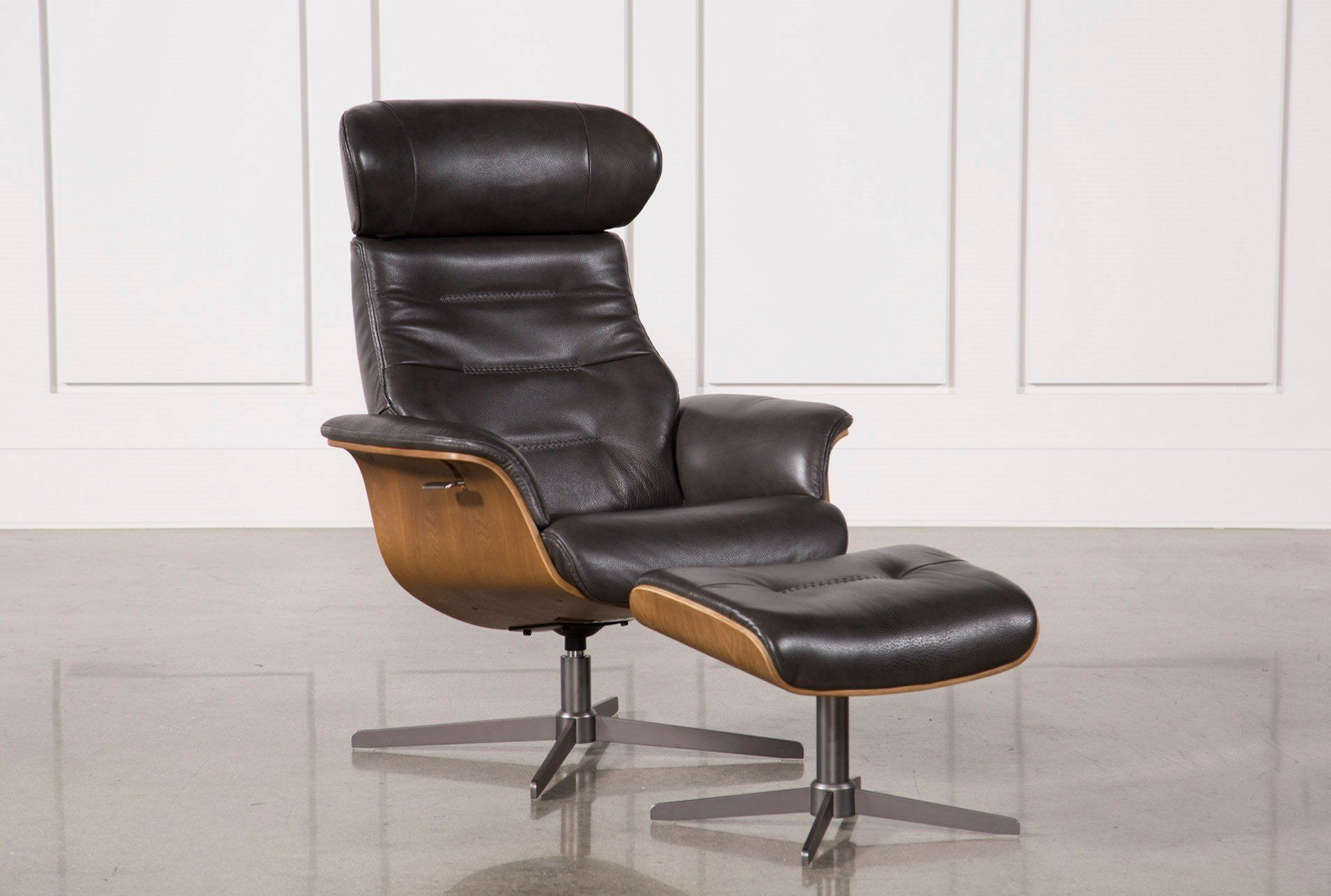 Amala Dark Grey Leather Reclining Swivel Chair With