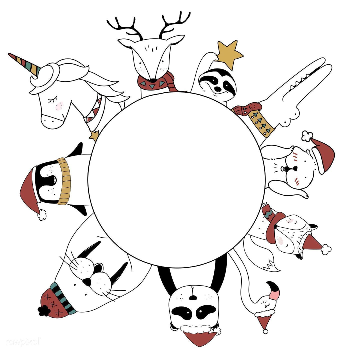 Download premium illustration of Hand drawn animals