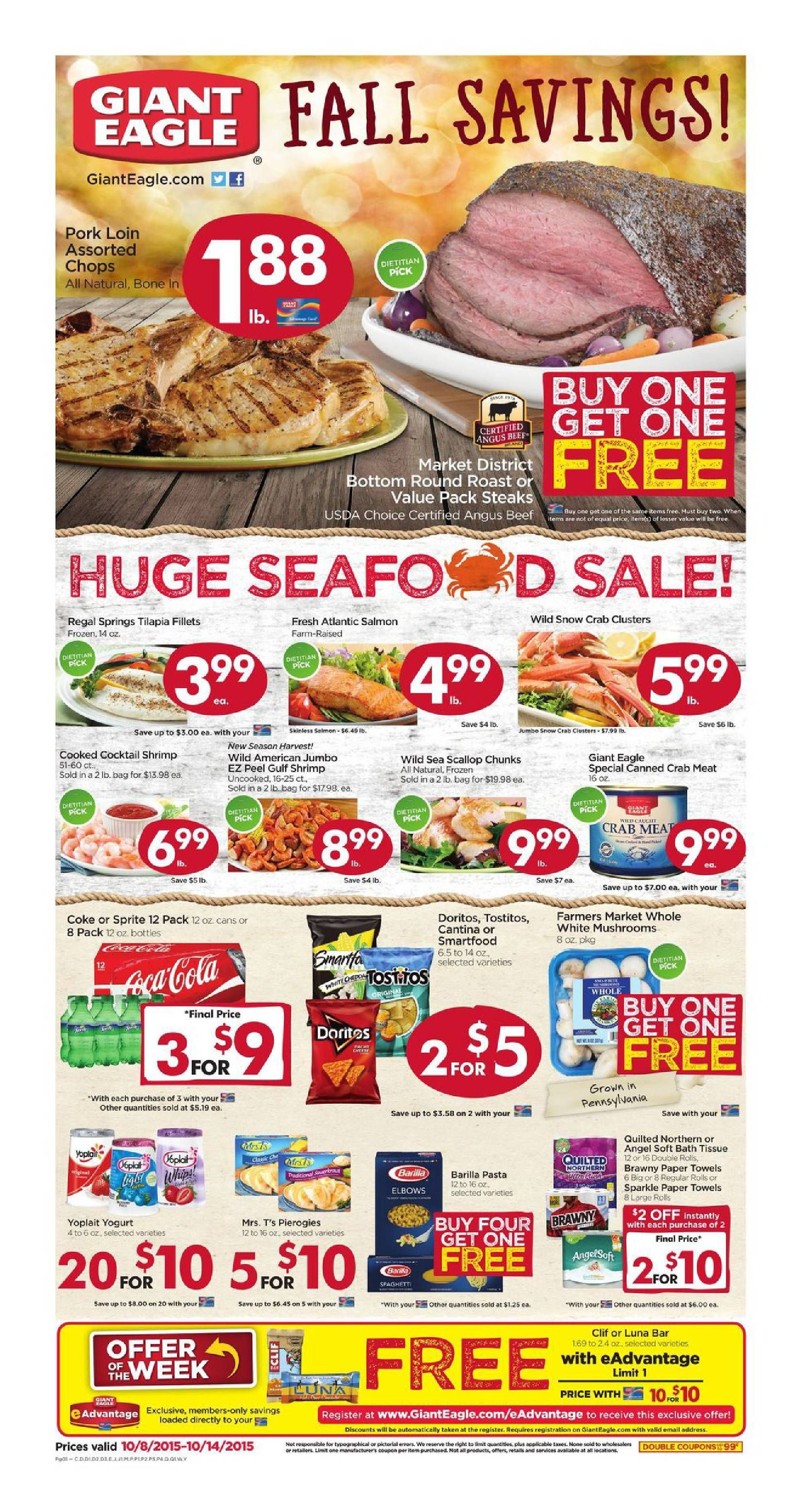 Giant eagle weekly ad october 8 14 2015 weekly ads
