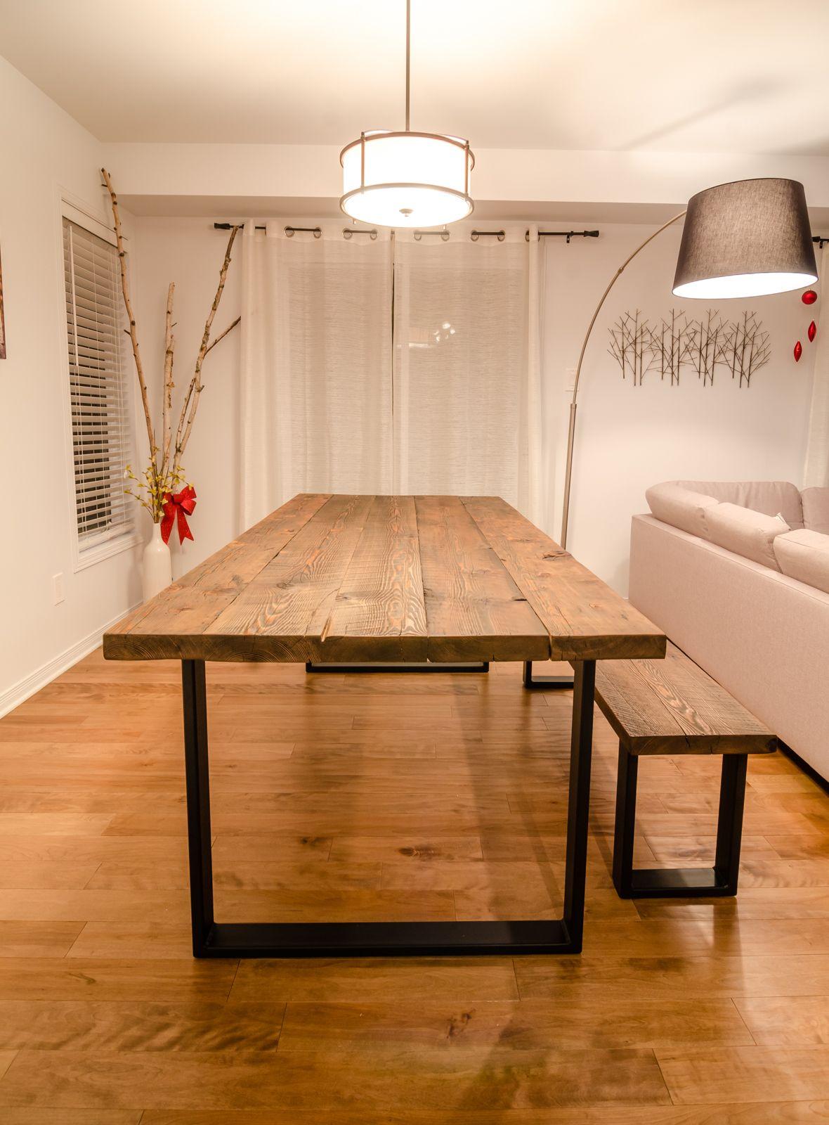 Reclaimed Wood u0026 Steel U Shape Table and