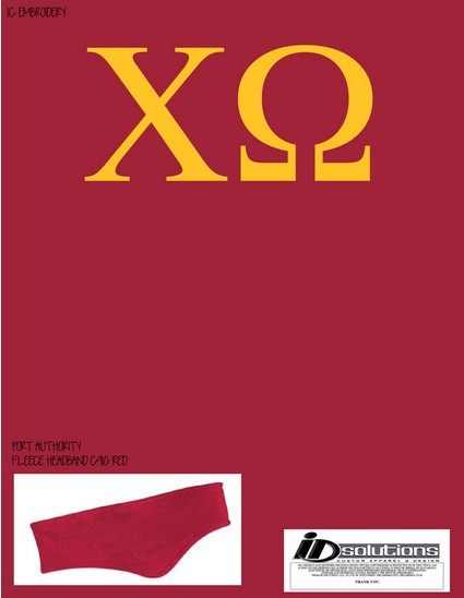 Oklahoma Chi Omega fleece headband #chio #headband #greek