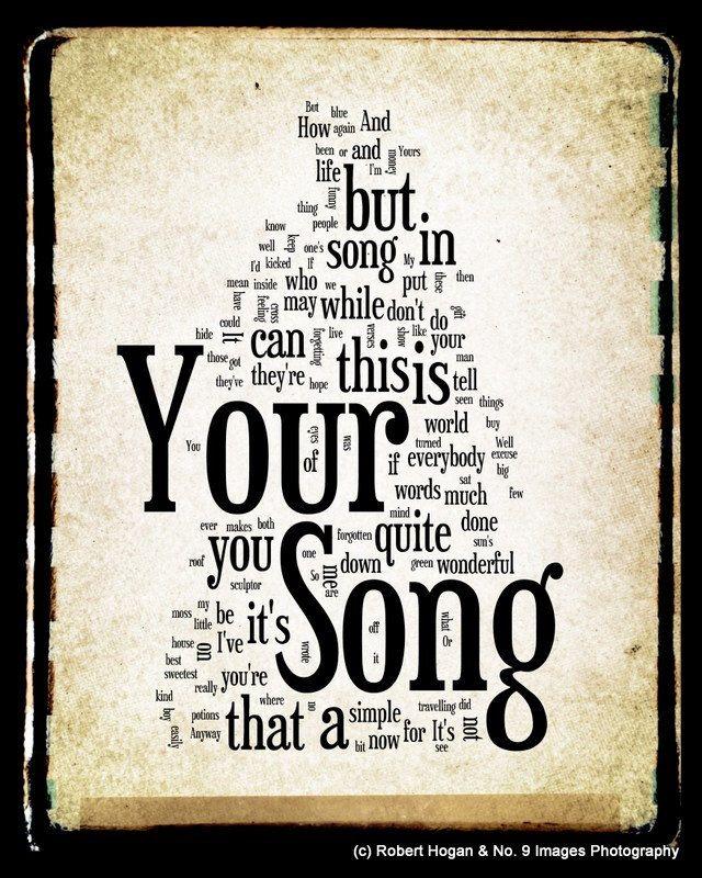 Your Song Lyrics Elton John Word Cloud Word Art Print 8x10 Gift Idea 15 00 Via Etsy Song Lyrics Art Song Lyrics Lyrics