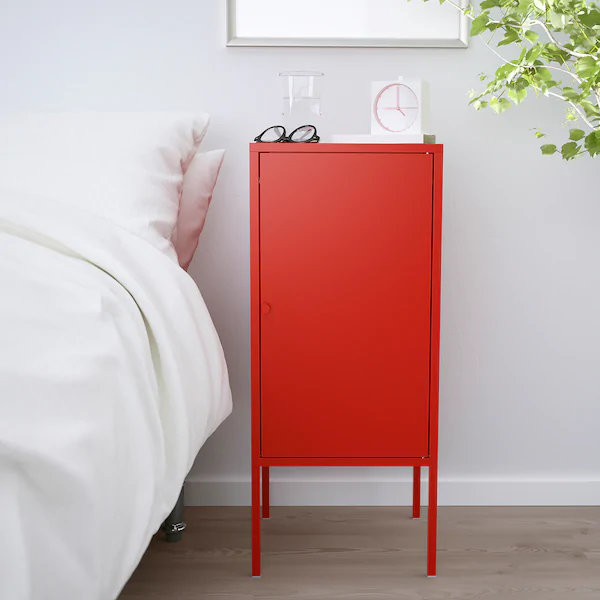 Lixhult Cabinet Metal Red 13 3 4x23 5 8 Ikea Unexpected Storage Small Bedroom Storage Ikea