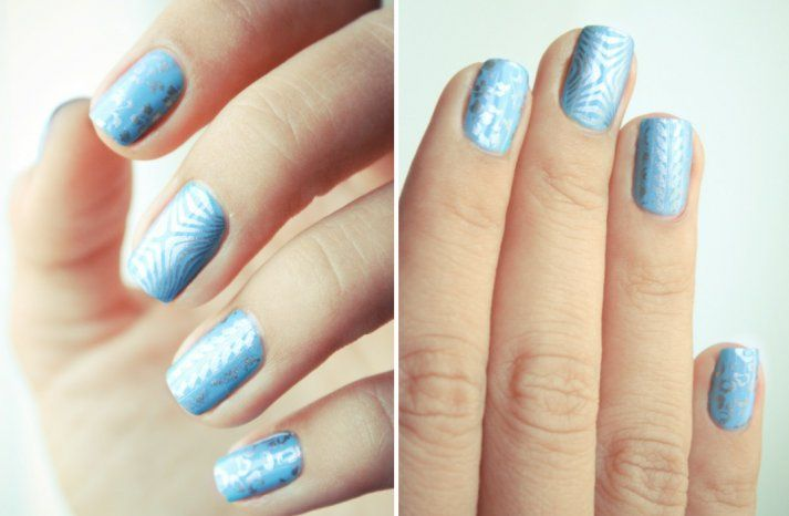ice blue silver wedding nail art something blue for brides