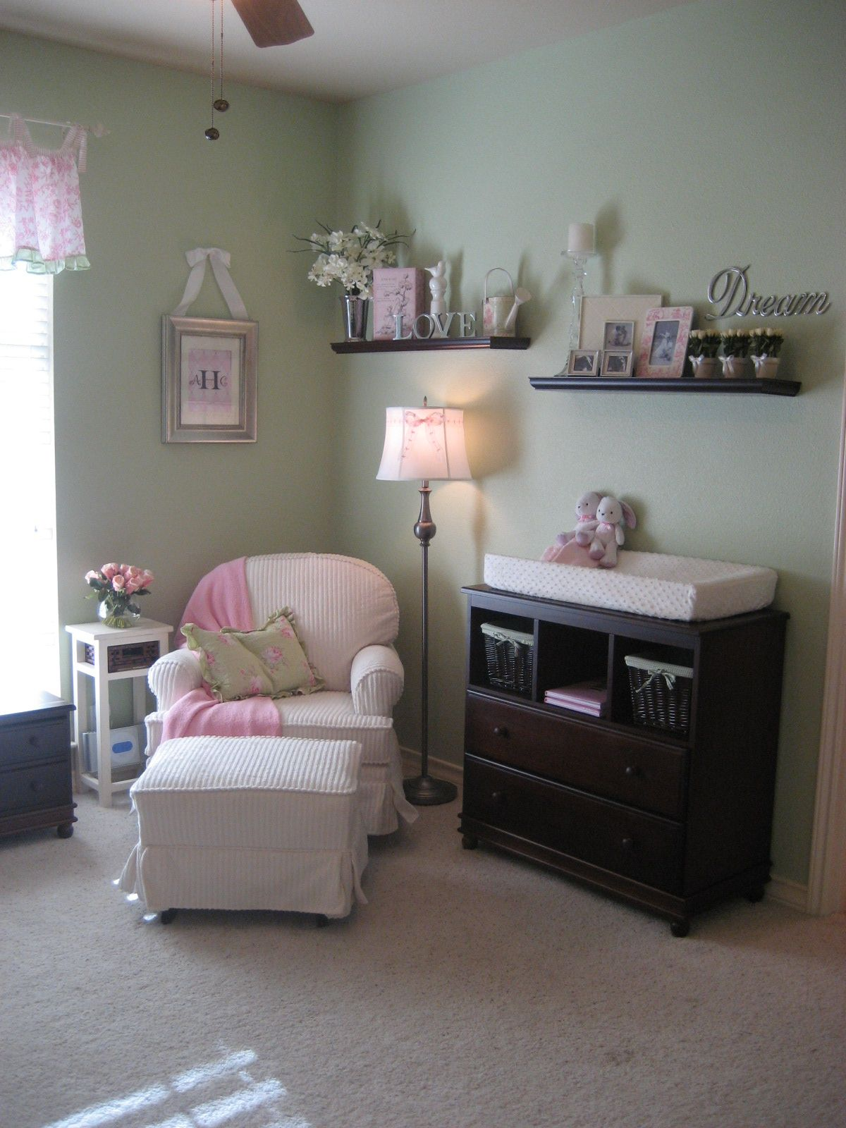 Girly Girl Nursery For Twin Girls With Green, Pink And