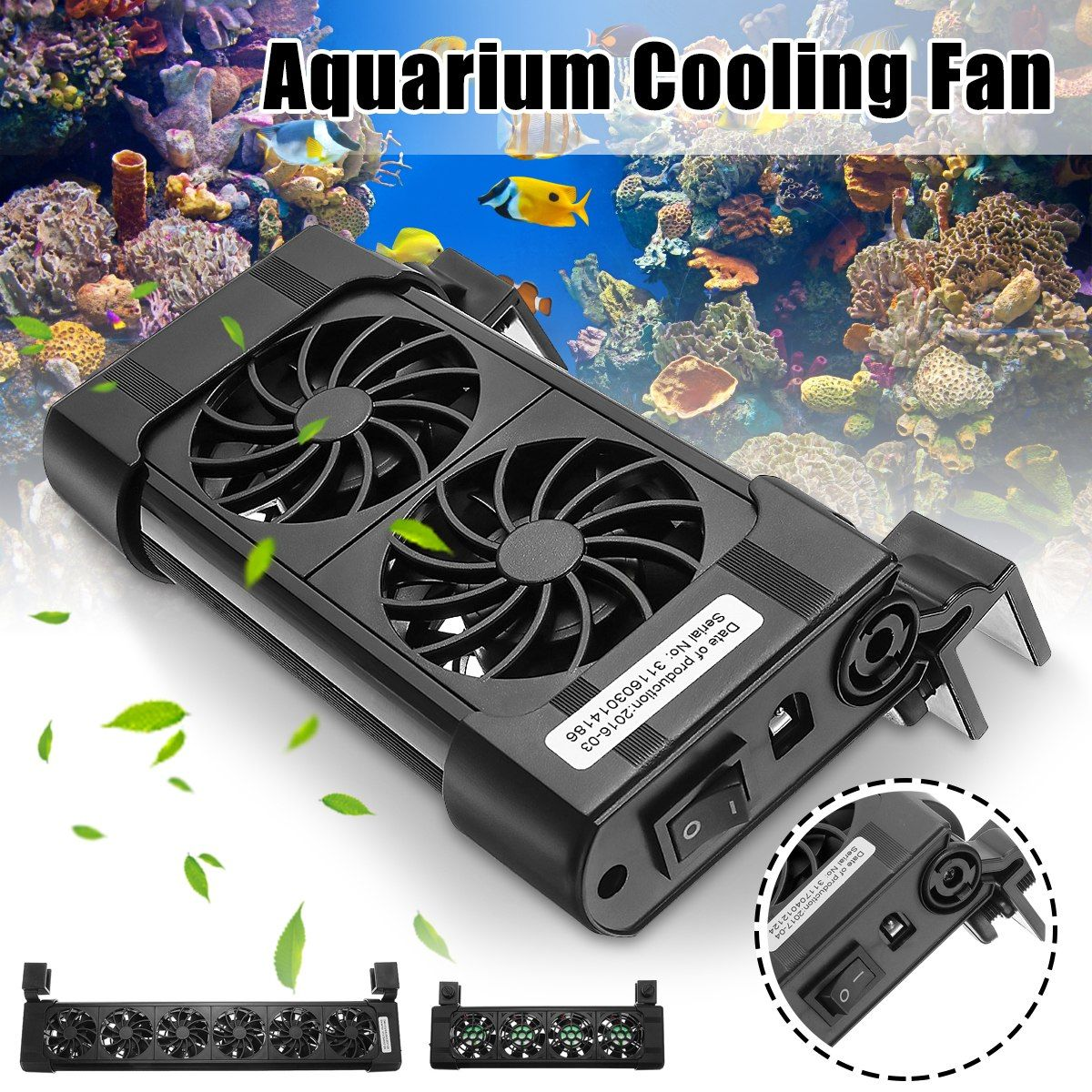2 3 4 5 6 Heads Fan Black Aquarium Fish Tank Cooling Fans Cold