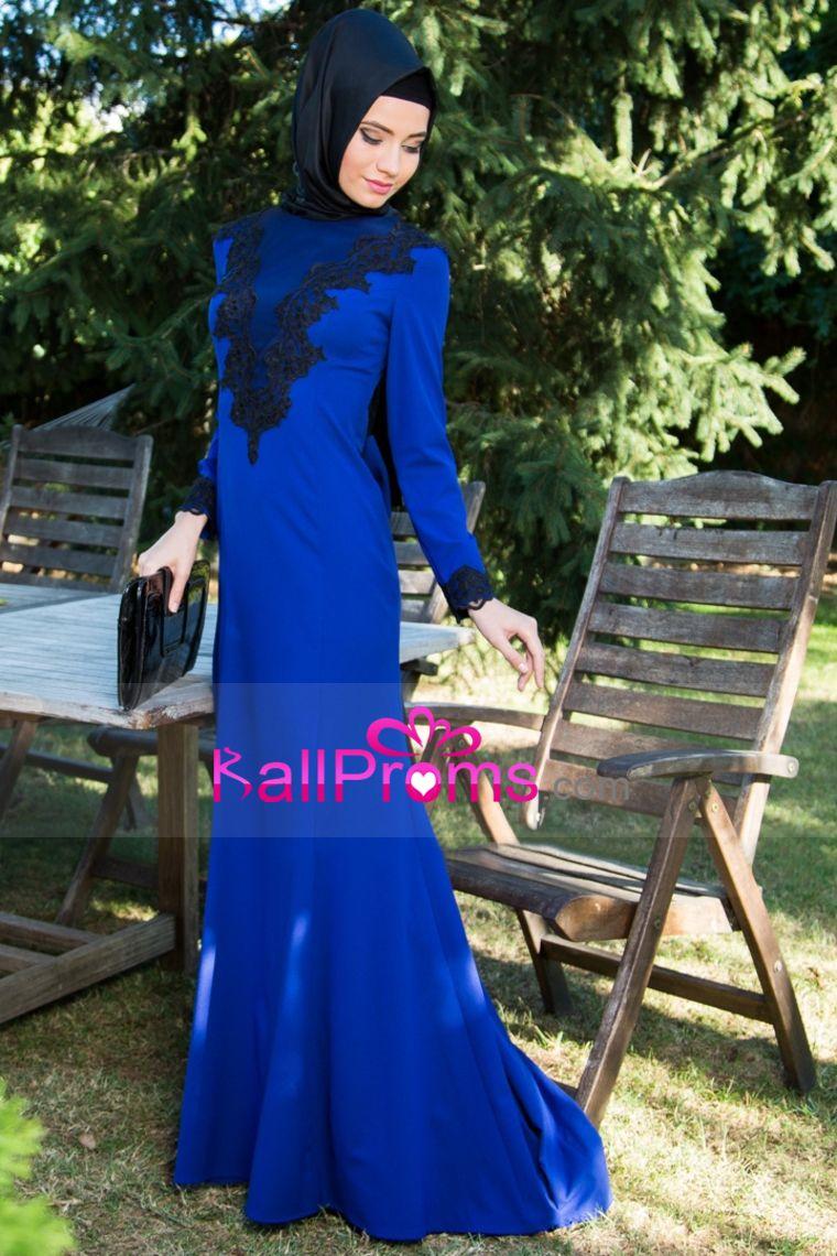 prom dresses muslim chiffon with applique sweep train