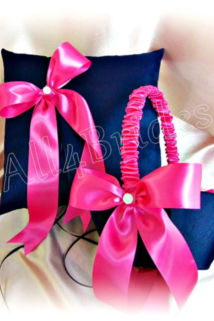 Navy blue and hot pink fuchsia wedding ring bearer pillow and flower ...