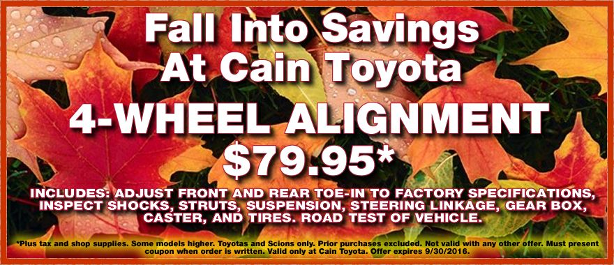 Get your Toyota back in line with our 4Wheel Alignment