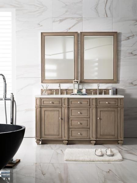 "bristol 60"" james martin whitewashed walnut bathroom vanity double"