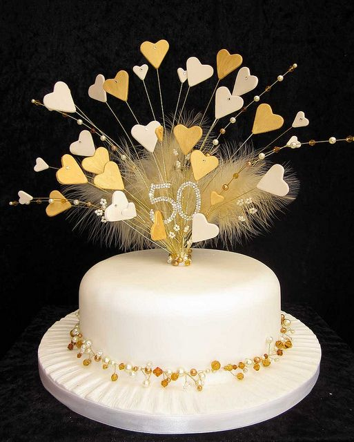 Gold Wedding Cake Decorations: 50th Golden Wedding Anniversary Cake Topper