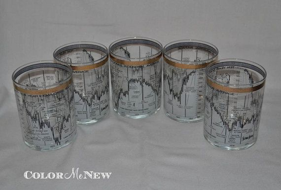 Set of 5 Dow Jones Industrial Old Fashioned Gold by ColorMeNew