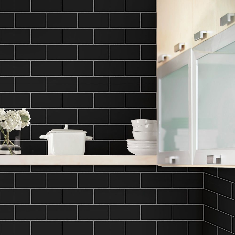 Tiling On A Roll Wave Tile Wallpaper Charcoal Holden 89322 Black Subway Tiles Small Bathroom Colors Black Feature Wall